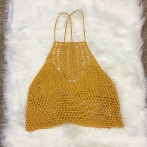 Yellow Crocheted Crop Top with Tie Back